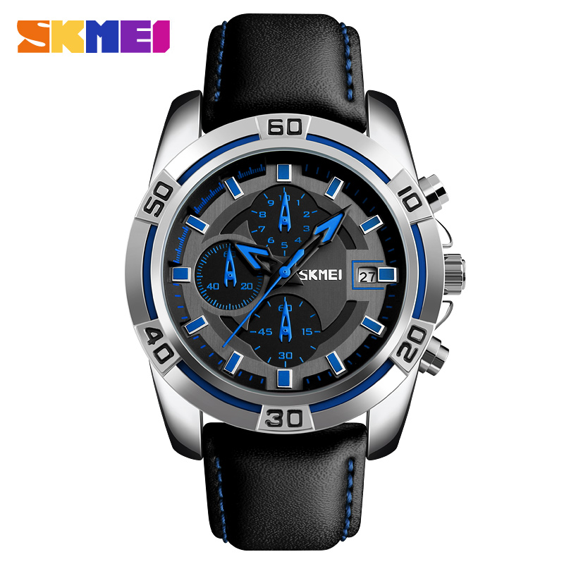 SKMEI Men's Wristwatch Quartz Watch Men Waterproof Watches Mens Luxury Brand Business Leather Sport Male Clock Relogio Masculino benyar watch mens luxury brand quartz blue watches fashion business male leather wristwatch waterproof clock relogio masculino
