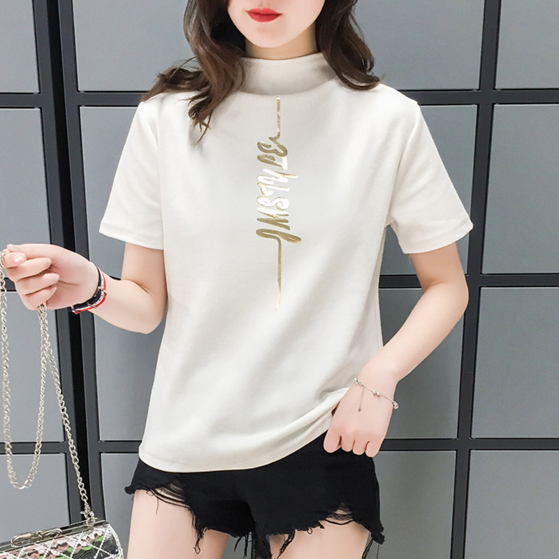 harajuku Women Chic All-match Classic letters Slim t shirt korean ulzzang Turtleneck short Sleeved T-shirts Sexy Shirts Tee tops