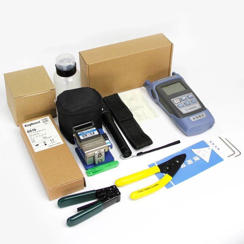 FTTH kit d'outils fibre optique 12 pièces/ensemble FC-6S fibre Couperet-70 ~ + 3dBm Optique Power Meter 5 km Laser pointe - 2
