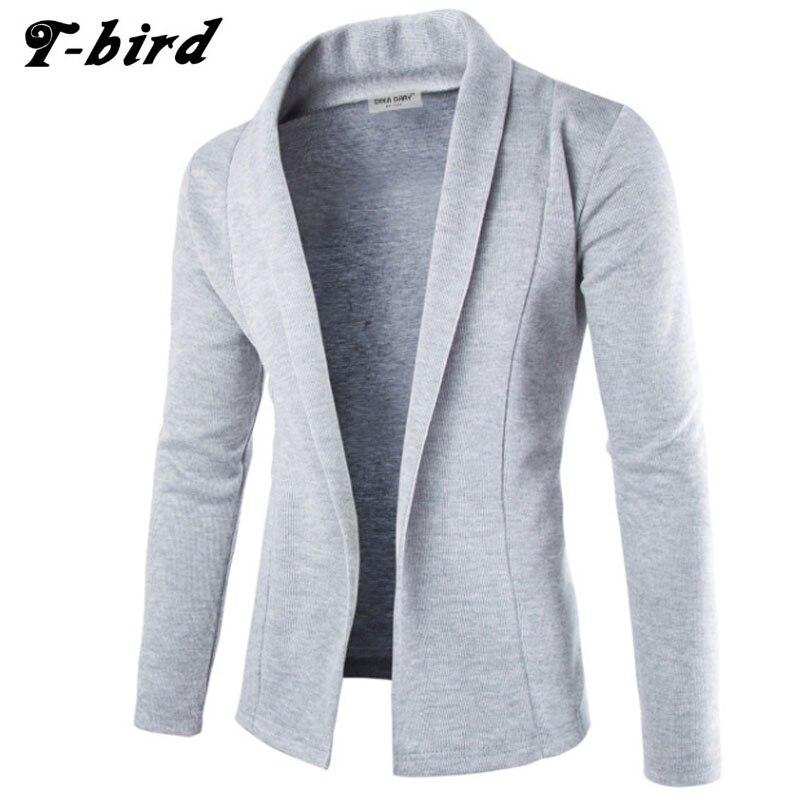 T-bird Sweater Men 2017 Brand  Concise V-Neck Sweater Coat Cardigan Male Solid Color Slim  Mens Cardigan Sweater Coat Man XXL KS