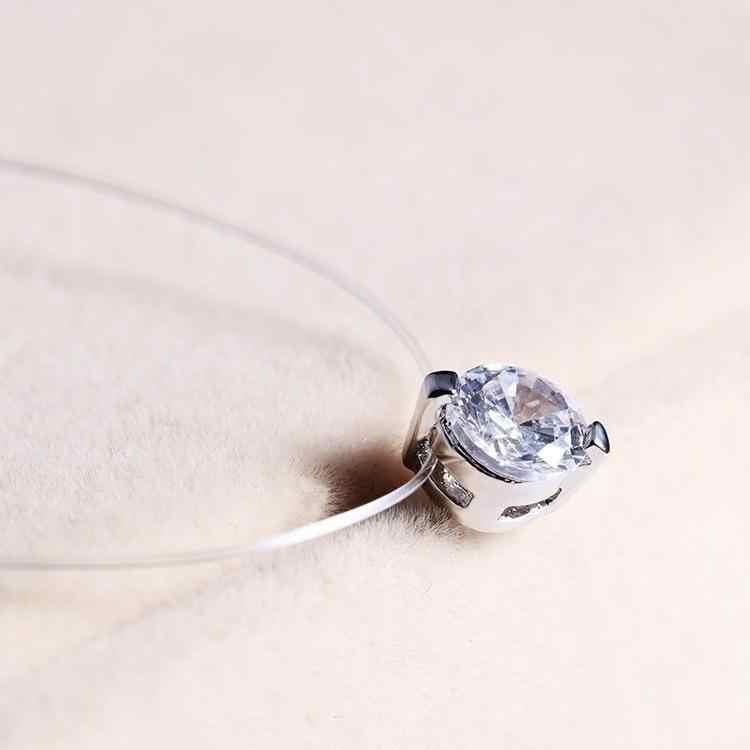 Fashion Pernikahan Perhiasan Mengkilap Zircon Crystal Liontin Kalung Pesta Wanita Tak Terlihat Line Transparan Memancing Klavikula Kalung