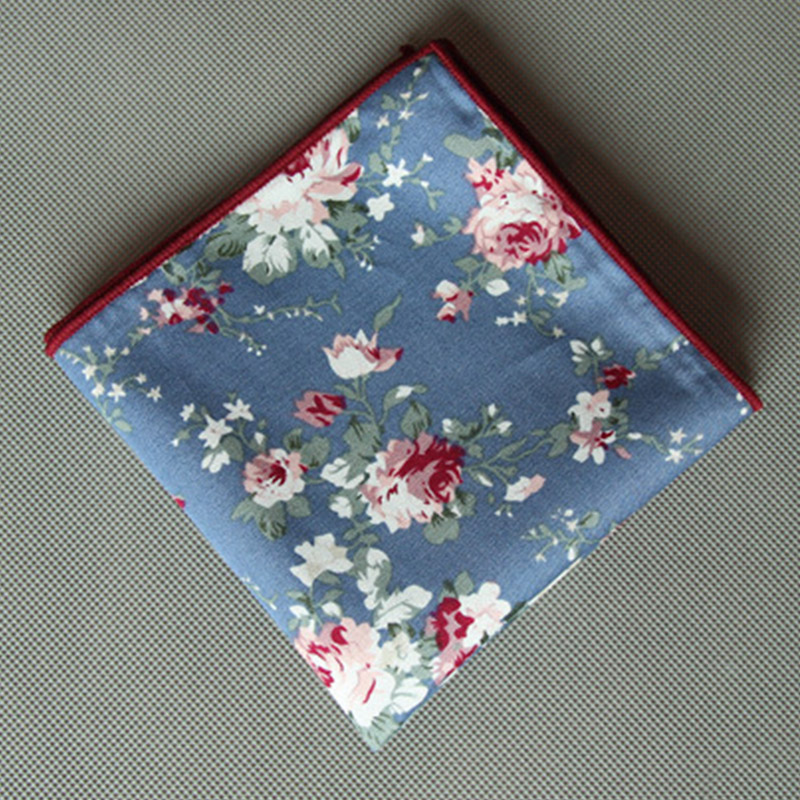 Mantieqingway Casual Cotton Mens Floral Pocket Square Handkchiefs Popular Men's Suits Printed Hankies Pocket Square For Wedding