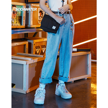 SODAWATER Girl 2019 Summer High Waist Jeans Streetwear Harajuku Denim Trousers Straight Pants Loose Casual Woman 9448SG