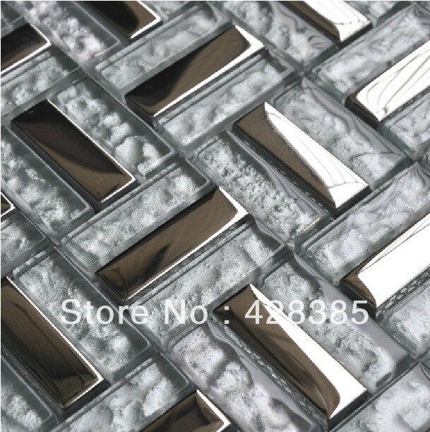 Free Shipping Stainless Steel Glass Tiles Metal Mosaic Tiles Wall Tiles Kitchen Backsplash