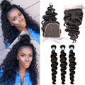 8A Peruvian Virgin Hair With Closure Loose Wave Curly 3 Bundles With Closure Honey Queen Hair Products With Closure Bundles