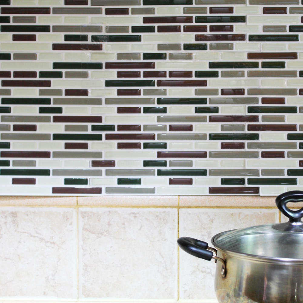 Kitchen Backsplash Peel And Stick Tiles Faux Subway Glossy Wall
