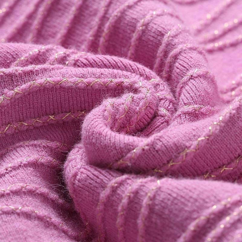 Automne Pulls Casual Haute pink 2018 À Lurex Jupe Black Mini Femmes Manches Ensemble Qualité Chandail Longues Tricoter Tricots Fil Hiver wqxwaf
