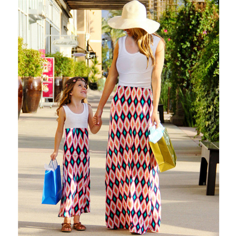 6a3d13e563 Dresses Family Clothes Mother Daughter Matching Long Maxi Floral Dress for  Women Girls