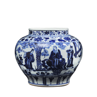 Antique ceramic vase Chinese Blue and White Porcelain Figure Vases