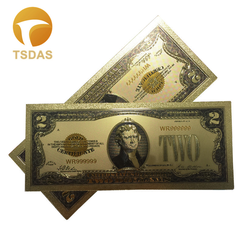 Colorful 24k Gold Foil Banknote 1928 American 2 Dollar Bill Note Collectible Fake Money 10pcs lot