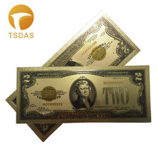 Colorful 24k Gold Foil Banknote 1928 American 2 Dollar Bill Note Collectible Fake Money 10pcs/lot For Souvenir