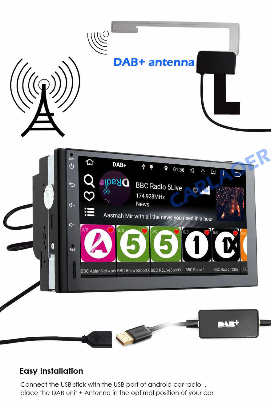Universele Auto DAB Plus Radio Ontvanger Tuner USB interface voor auto Android multimedia speler systeem Digitale Audio Broadcasting