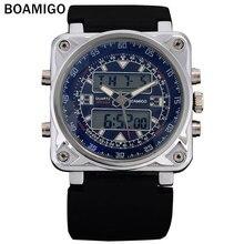 BOAMIGO hombres moda deportes de pantalla dual relojes rubber band 2016 nuevo hombre relojes de pulsera 30 M impermeable reloj de cuarzo negro hombre