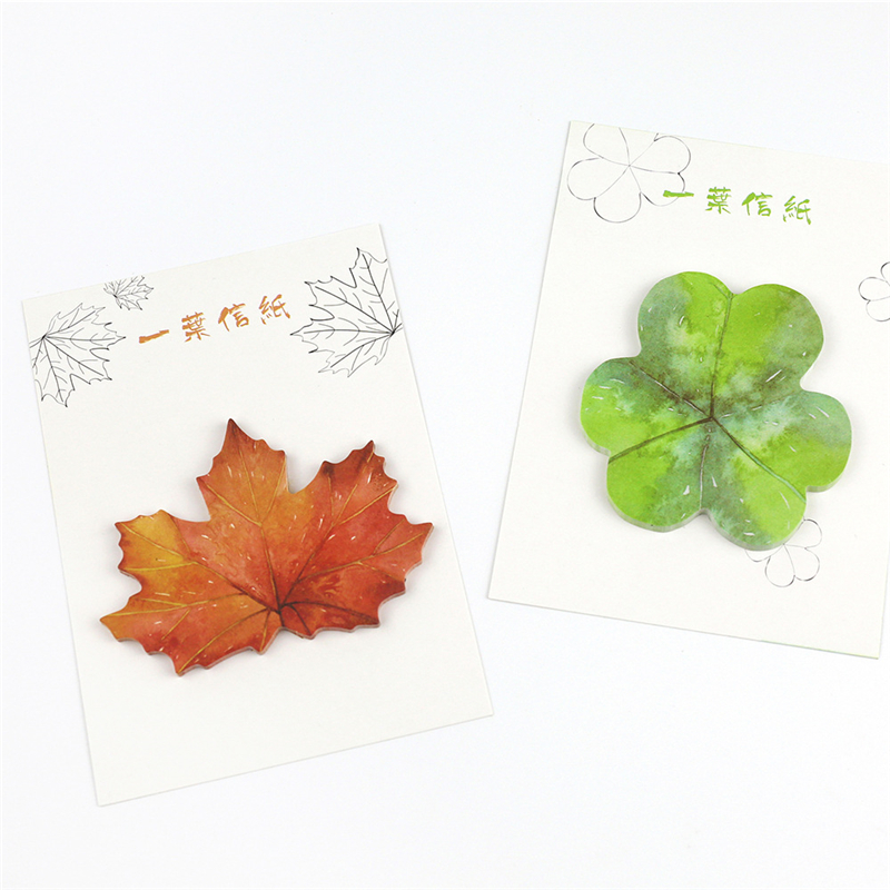 30 tablets/pack Cute Kawaii Paper Sticky Memo Pad Creative Maple Leaf Post It Note For Kids Korean Stationery Student