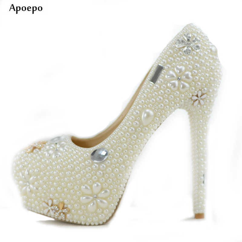 New White Pearl Beaded High Heel Shoes 2018 Fashion Platform Pumps Ultra High Slip-on Dress Shoes the Bride High Heels цены онлайн
