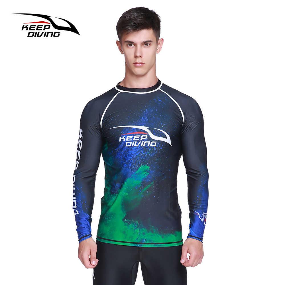 Tutmak dalış UPF50 + Anti-UV döküntü muhafızları erkekler çabuk kuruyan uzun kollu Wetsuit güneş koruyucu yüzme sörf kıyafeti büyük boy döküntü koruma