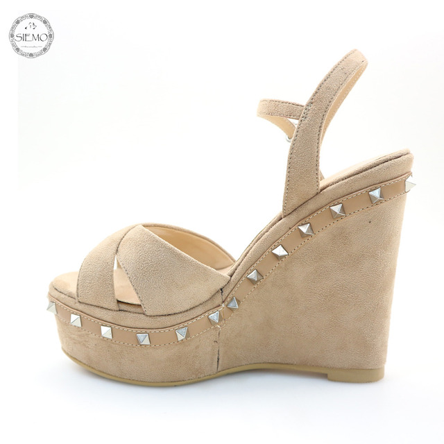e044ddc0d Siemo Fashion Women Ladies Peep Toe Wedge Heel High Platform Summer Sandals  Studded Ankle Buckle Comfortable Shoes US Size 5-17