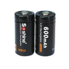 2pcs Soshine 16340 RCR123 LiFePO4 battery 3V 600mAh Rechargeable protected batte