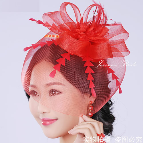 2016 Bride To Be RED TOP HAT Bachelorette Party Wedding Bridal Shower Gift Feather Beads Headdress Veil Hats