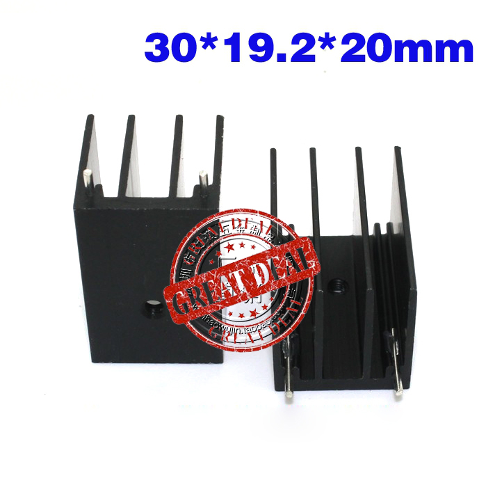 Free Shipping Wholesale 100PCS Aluminum Diode Heatsink 30*19.2*20MM High Quality Transistor Heatsink Black