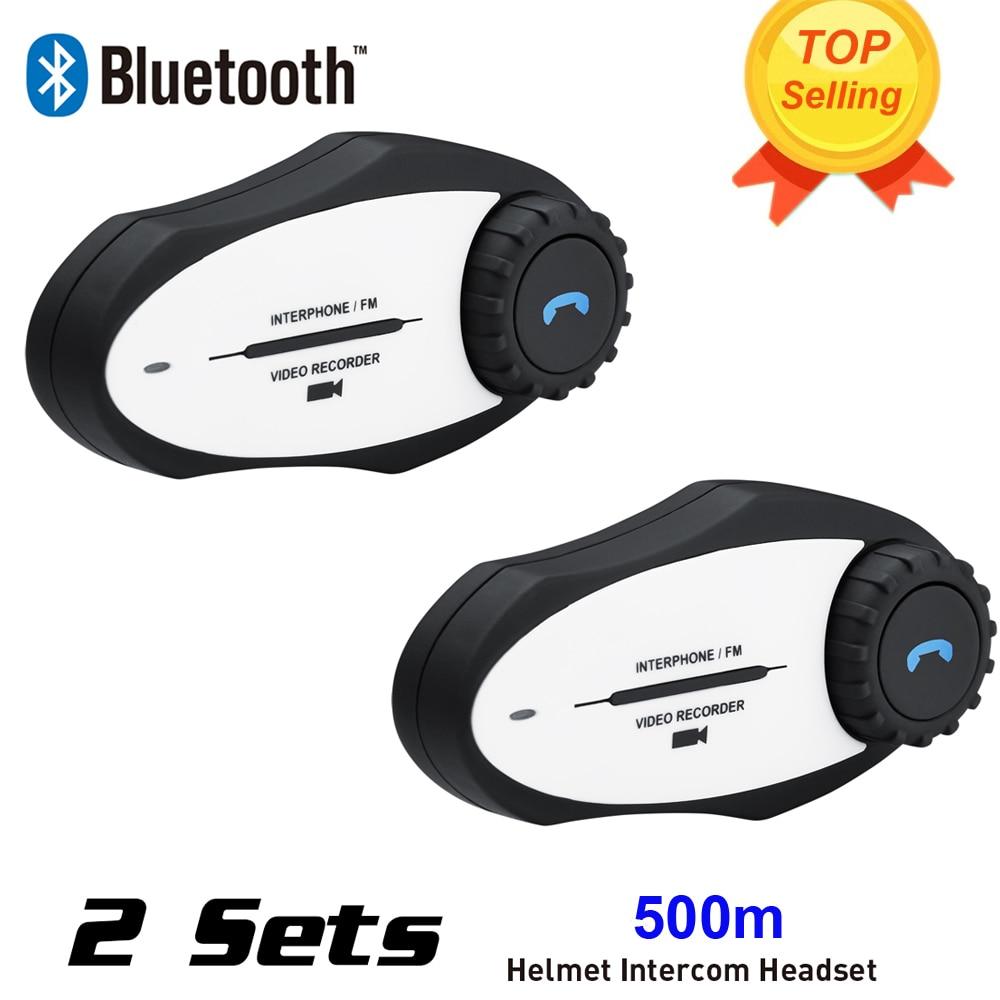 New 2Sets 720P Video Recorder Sports Camera 500M BT Bluetooth Motorcycle Helmet Intercom ...