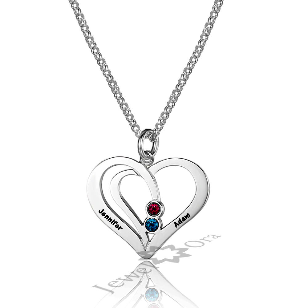 4676c61e63f8ff Lover's Gift Personalized DIY 2 Names Necklace 925 Sterling Silver Heart  Necklaces Birthstone Pendants Birthday Gift For Women-in Pendants from  Jewelry ...