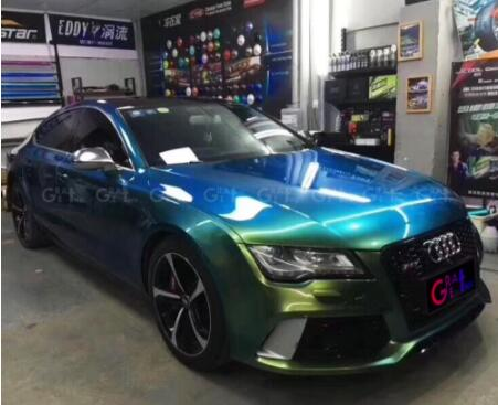 Gloss Magic Ghosts Green Vinyl Wrap Film With Air Bubble Free Magic Glossy Car Wrap Cover Styling Size 1.52*20M/Roll - Название цвета: Ghosts Green