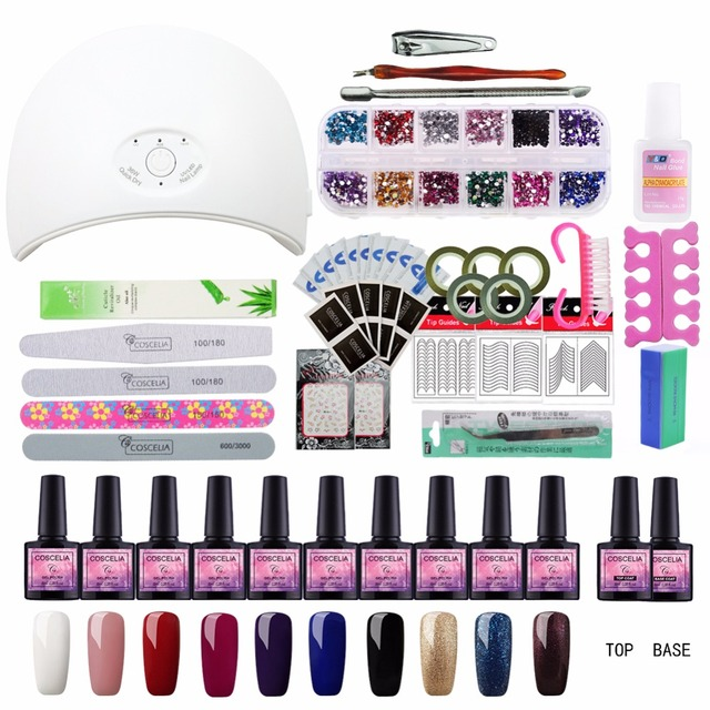 Full Manicure Set With Lamp Nail Kit 24W/36W UV LED Lamp For Nail ...