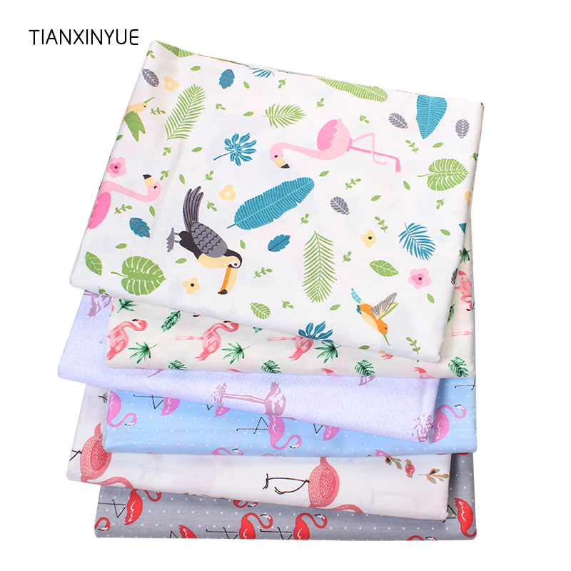 TIANXINYUE 6Pcs/lot,flamingos Series Twill Cotton Fabric,Patchwork Cloth,DIY Baby&Child Sewing Quilting Fat Quarters Material