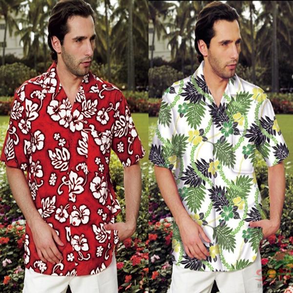 7abbd7b4d86b Men Male Beach Shirt Hawaii Tropics Shirts Short Sleeve Casual Beach Wear  Island Palm Floral Print Camisa Swim Suit Rash Guard