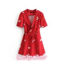 цена на Summer korean wrap Red Floral Dress women Sexy Deep v neck short sleeve Vintage dress 2018 Slim Retro mini dress vestidos