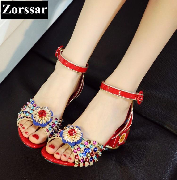 ФОТО fashion Print Ethnic style thick heel peep toe pumps ladies shoes 2017 new arrival woman high heel sandals summer women shoes