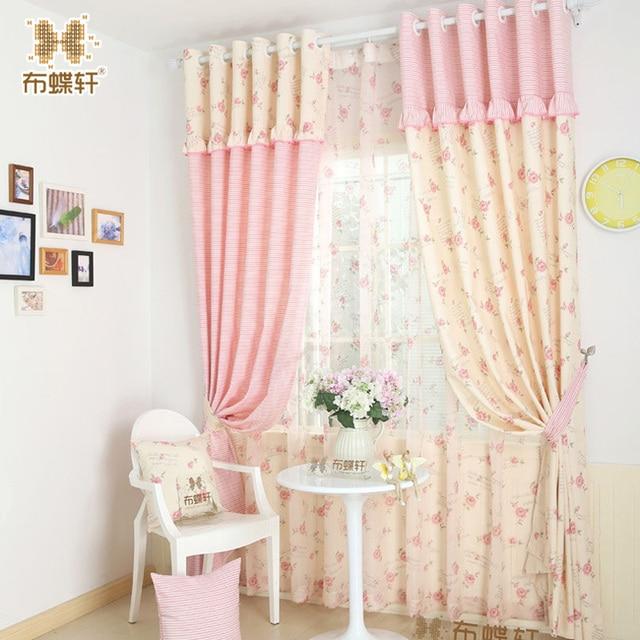 Так красиво! Розовые полосатые шторы для девочки принцесса детская комната спальня бежевый цветочный хлопковые шторы