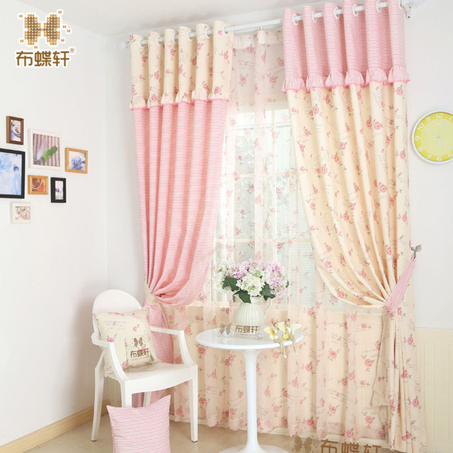 Pink Striped D For Princess Children S Room Bedroom Beige Fl Cotton Curtains