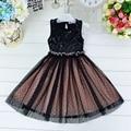 Novatx marca baby girl roupas sem mangas crianças roupas meninas vestido preto vestidos de festa vestido de princesa nova chegada