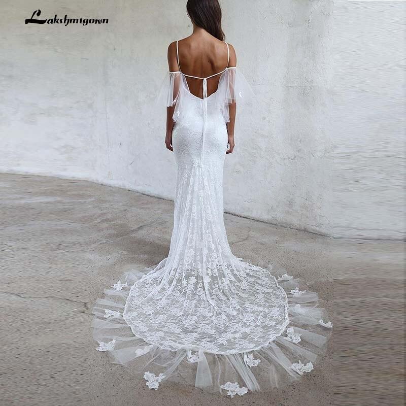 Beach Wedding Dresses 2019: Boho Mermaid Beach Wedding Dresses 2019 Short Sleeves