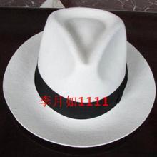 Белая Подлинная шляпа черная контрастная шерстяная шляпа Fedora элегантная шерсть винтажная ковбойская Кепка Jackson шерстяная шляпа Белая B-8139