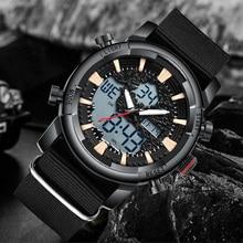 Fashion Men Sports Watch Dual Display Nylon Strap Digital Analog Watch Army Military Waterproof Male LED Clock Relogio Masculino цены онлайн