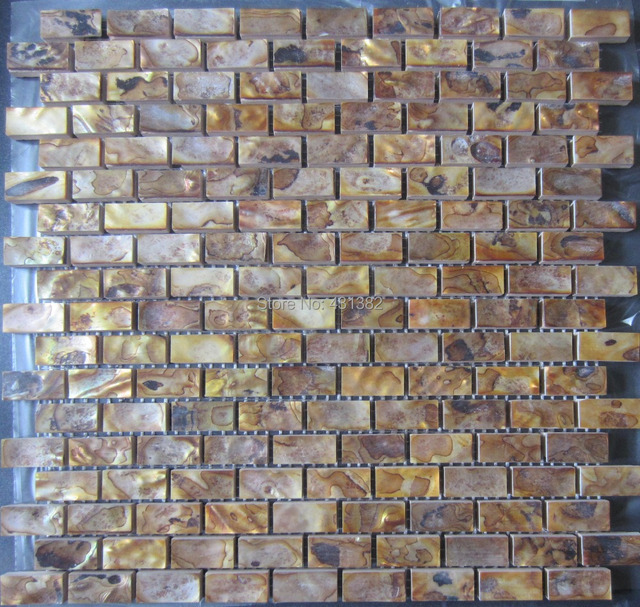 Gold Color Tiles Wholesale Natural Color MOP Shell Wall Mosaic Tiles Brick  Tile For Interior Decoration