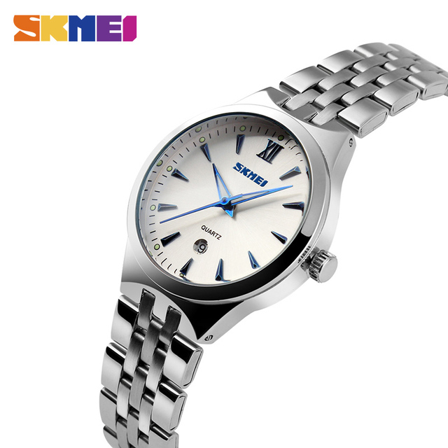 155b7a9a3c7 SKMEI Aço Inoxidável Das Mulheres Dos Homens relógios de Pulso de Quartzo  Calendário de Moda Relógio