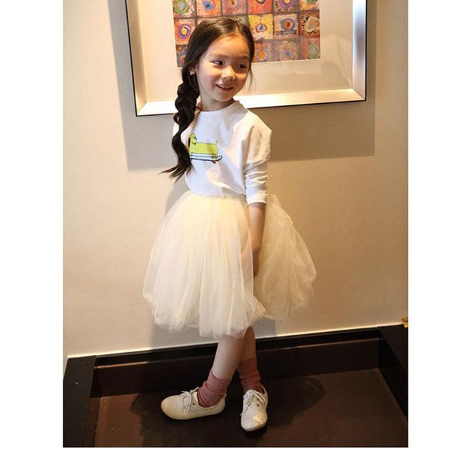 Primavera y Otoño ropa infantil niñas neta cifrado hilo hasta la rodilla faldas de la princesa Coreana 0110