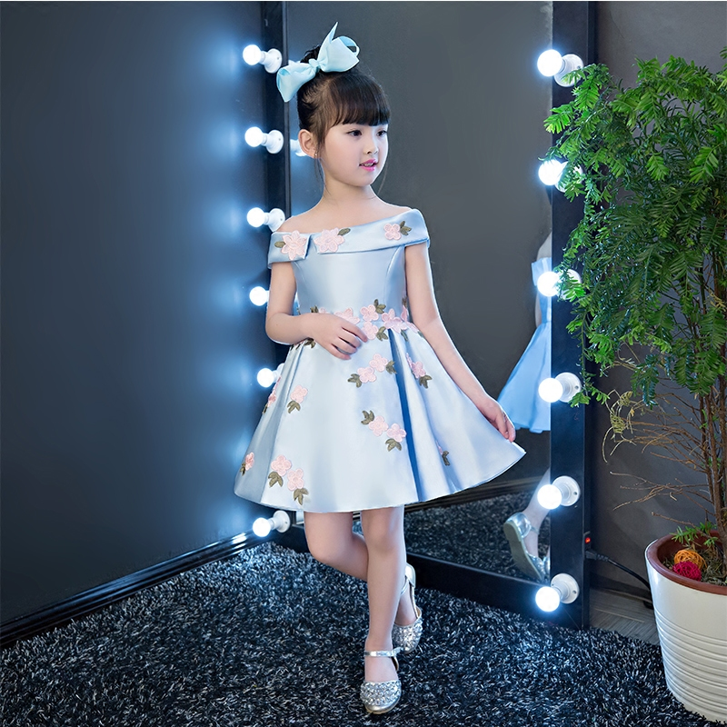 2018 New Korean Sweet Pink Blue Color Girls Princess Party Dress Children Kids Wedding Birthday Flowers Dress Pageant Clothes