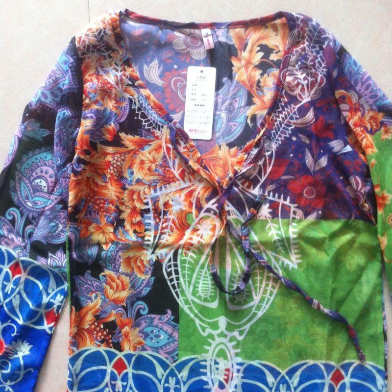 Summer Beach Wear Women Cover-Ups Bohomia Dress Print V neck Chiffon Dress Loose Long Sleeve Swimming Vestidos femininas M6513 8