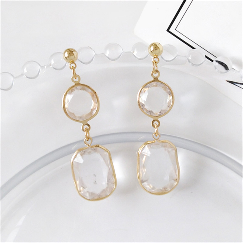 Fashion Woman Earrings Geometric Stud Earrings Female Contracted Joker Transparent Crystals Earrings For Women Jewelry Wholesale