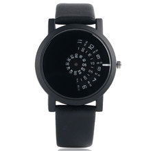 Unique Round Dial Stylish Hot Leather Strap Modern Quartz Fashion Turntable Women Men Special Design Wrist Watch Trendy Gift turntable case watch women mesh stainless steel strap mens wrist watch fashion trendy unique women quartz watch student black