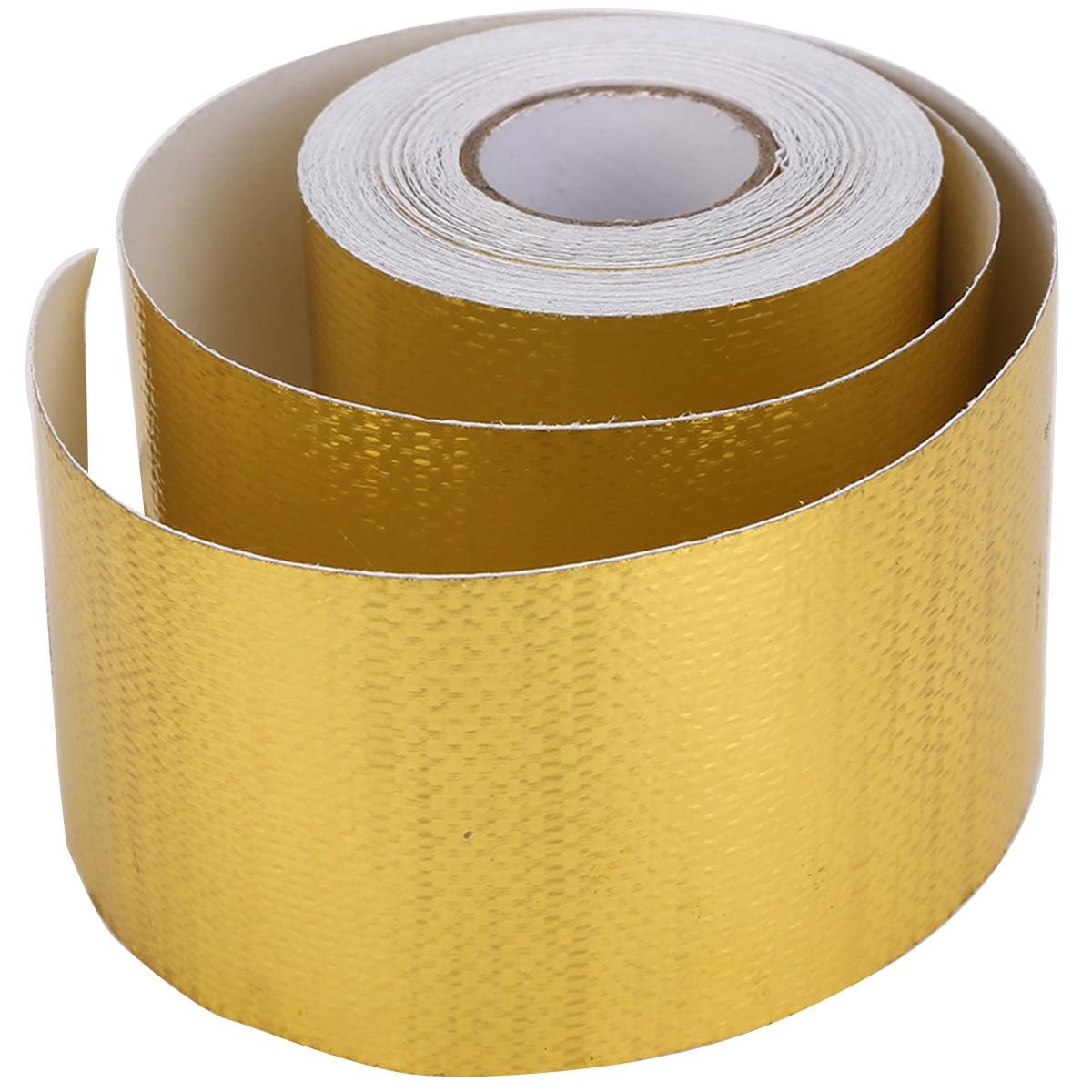 1 Roll 5CM*9M Self-Adhesive Heat Reflective Tape Car Truck Motorcycle Fiberglass Heat Shields Reflect Adhesive Wrap Barrier Roll