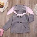 2016 crianças de inverno de espessura cardigan Coelho Jaqueta Com Capuz Chapéu casacos para as meninas outono bebê da menina casaco com capuz