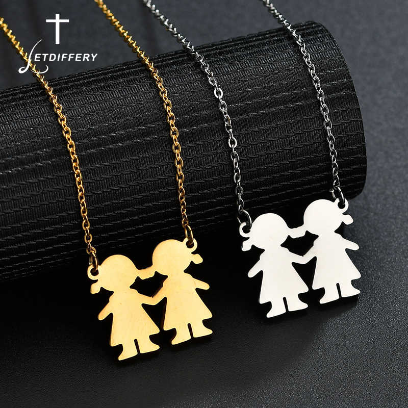 Letdiffery Little Girls Pendant Necklace Stainless Steel Love Family Sisters Necklace For Best Friend BBF Gift