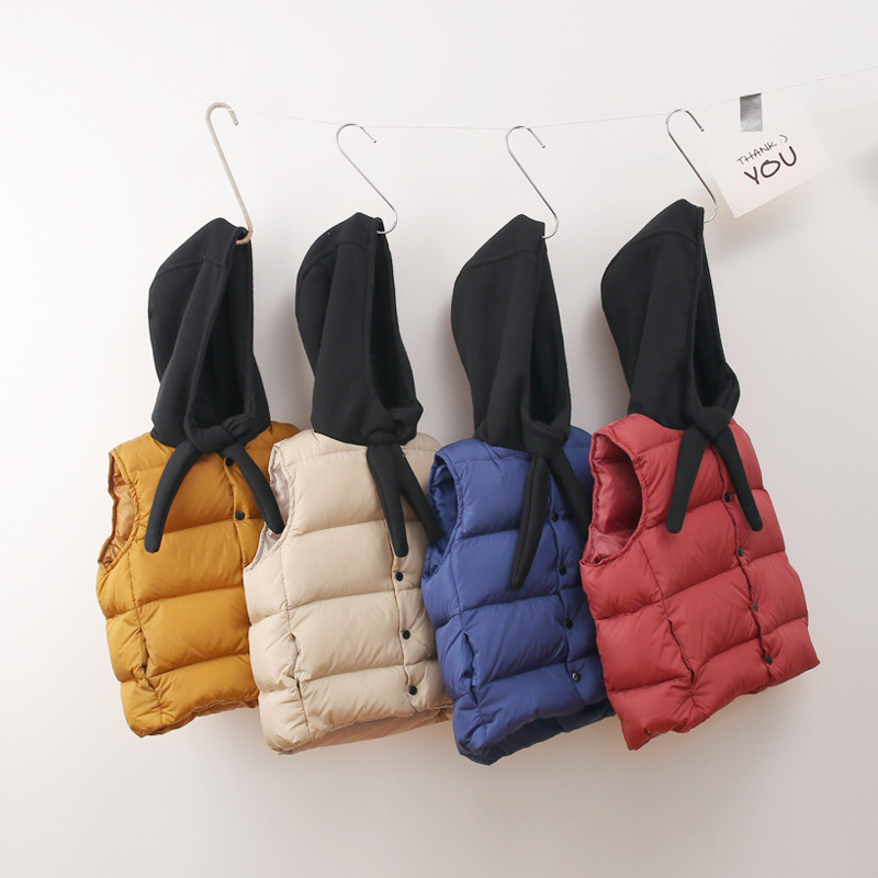 Girls Vests Padded-Jackets Waistcoats Hooded Korean-Style Baby-Boys Winter Kids Children