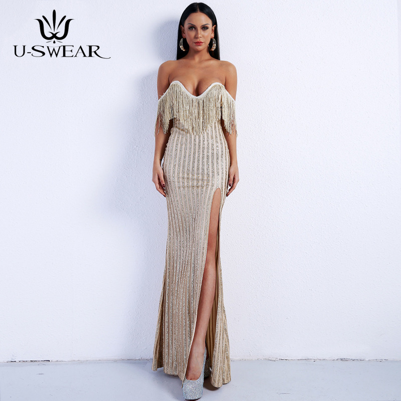 U-SWEAR Sexy   Evening     Dresses   Deep Sleeveless Backless Tassel Floor-Length Split Party Prom Formal Gowns Vestidos Robe De Soiree